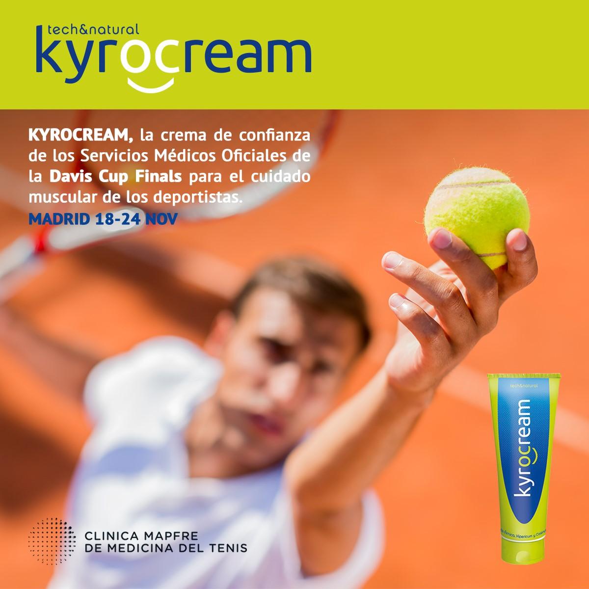 Kyrocream es marca de confianza de los Servicios Médicos Oficiales de la DAVIS CUP FINALS